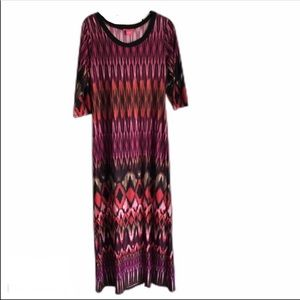 Synny Leigh Boho Tribal Pink Maxi Dress SZ Small
